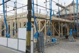 木造住宅の建設工事現場の写真